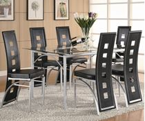 Picture of Los Felix Contemporary Metal Table and Black or Red Upholstered Chairs
