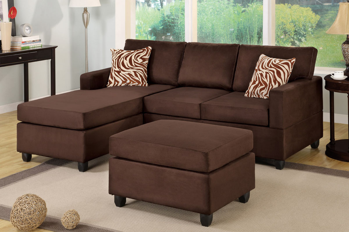 Chocolate Sectional With Ottoman Accent Pillows Sofa Set