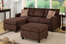 Picture of Chocolate Sectional with ottoman &  accent pillows sofa set