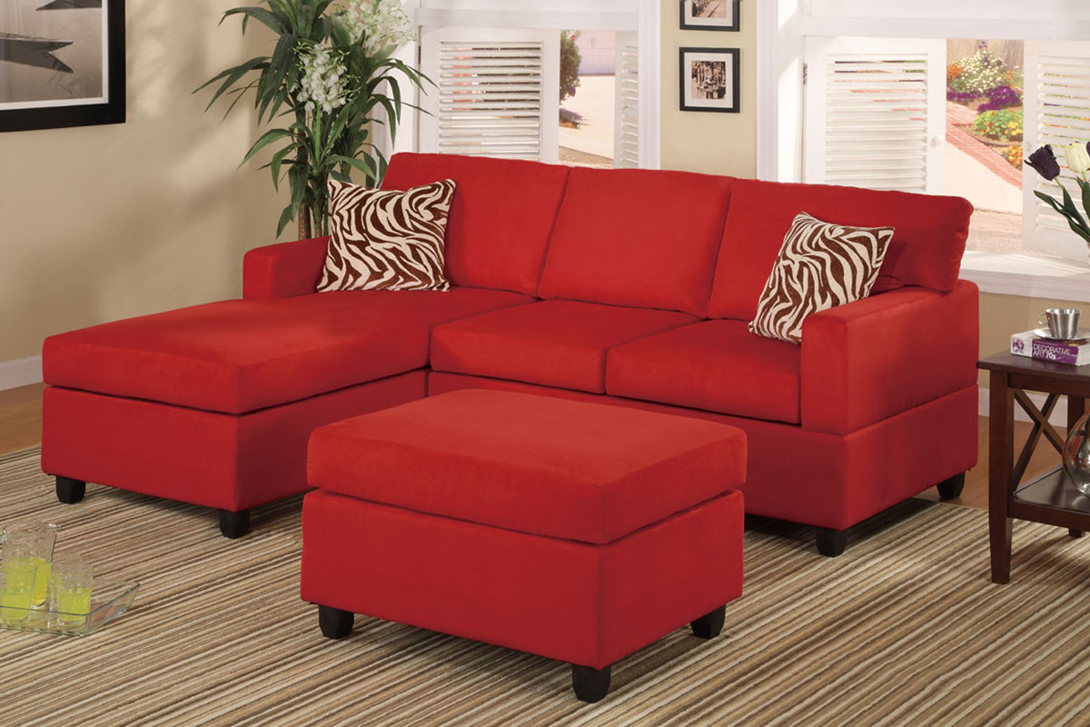 Red Sectional with ottoman & accent pillows sofa set