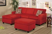 Picture of Red Sectional with ottoman &  accent pillows sofa set