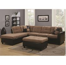 Picture of Brown Mallory Reversible Sectional with Casual and Contemporary Style