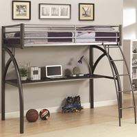 Picture of Bunks Metal Twin Workstation Loft Bed with Desk and Curved Ladder