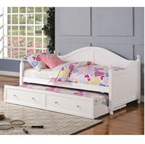 Picture of Daybeds by Coaster White Wooden Daybed with Trundle